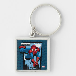 Spider-Man Meanwhile Comic Panel Silver-Colored Square Keychain