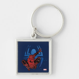 Spider-Man Paint Splatter & Logo Graphic Silver-Colored Square Keychain