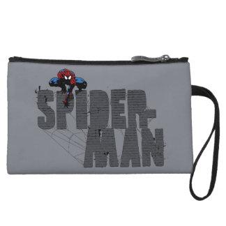 Spider-Man Perched Atop Brick Name Wristlet Purse