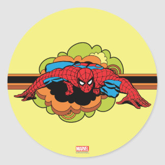 Spider-Man Retro Crawl Classic Round Sticker