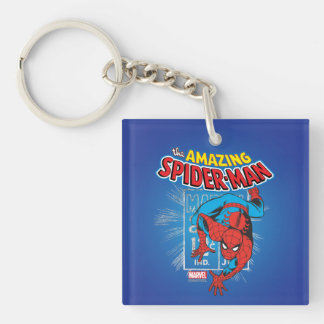 Spider-Man Retro Price Graphic Double-Sided Square Acrylic Keychain
