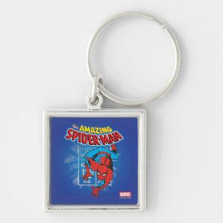 Spider-Man Retro Price Graphic Silver-Colored Square Keychain