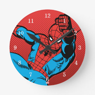 Spider-Man Retro Swinging Kick Round Clock