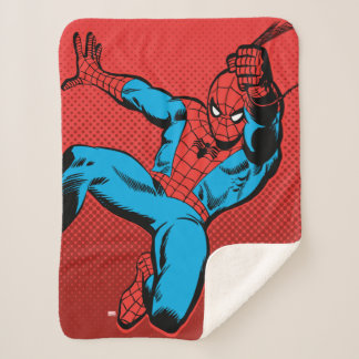 Spider-Man Retro Swinging Kick Sherpa Blanket