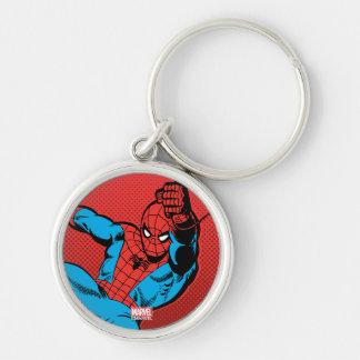 Spider-Man Retro Swinging Kick Silver-Colored Round Keychain