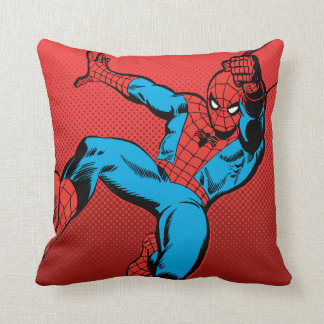 Spider-Man Retro Swinging Kick Throw Pillow