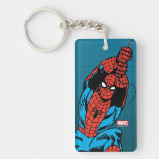 Spider-Man Retro Web Swing Double-Sided Rectangular Acrylic Keychain