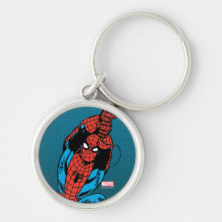 Spider-Man Retro Web Swing Silver-Colored Round Keychain