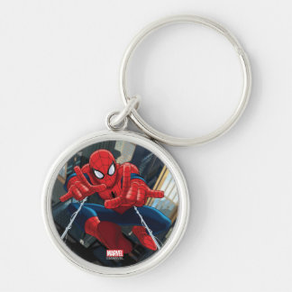 Spider-Man Shooting Web High Above City Silver-Colored Round Keychain