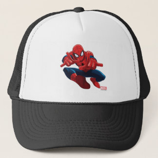 Spider-Man Shooting Web High Above City Trucker Hat