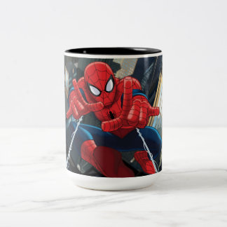 Spider-Man Shooting Web High Above City Two-Tone Coffee Mug