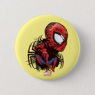 Spider-Man Sketched Marker Drawing 2 Inch Round Button
