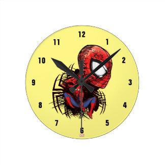 Spider-Man Sketched Marker Drawing Clock