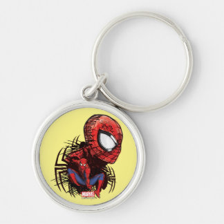 Spider-Man Sketched Marker Drawing Silver-Colored Round Keychain