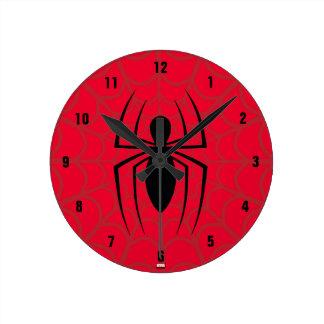 Spider-Man Skinny Spider Logo Round Clock