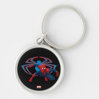 Spider-Man & Spider Character Art Silver-Colored Round Keychain