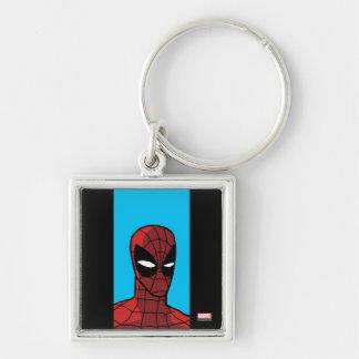 Spider-Man Stare Silver-Colored Square Keychain