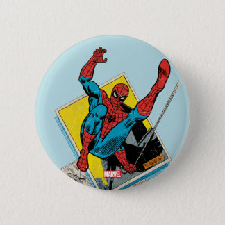 Spider-Man Swinging Out Of Comic Panels 2 Inch Round Button