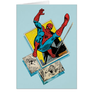 Spider-Man Swinging Out Of Comic Panels Card