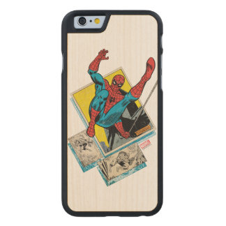 Spider-Man Swinging Out Of Comic Panels Carved Maple iPhone 6 Case