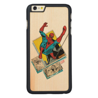 Spider-Man Swinging Out Of Comic Panels Carved Maple iPhone 6 Plus Case