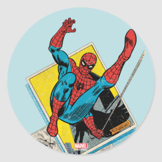 Spider-Man Swinging Out Of Comic Panels Classic Round Sticker