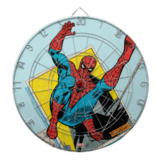 Spider-Man Swinging Out Of Comic Panels Dartboard