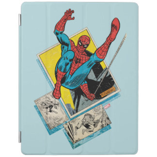 Spider-Man Swinging Out Of Comic Panels iPad Cover