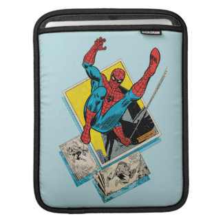 Spider-Man Swinging Out Of Comic Panels iPad Sleeve
