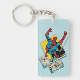 Spider-Man Swinging Out Of Comic Panels Keychain