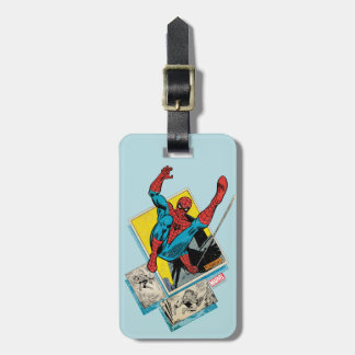 Spider-Man Swinging Out Of Comic Panels Luggage Tag
