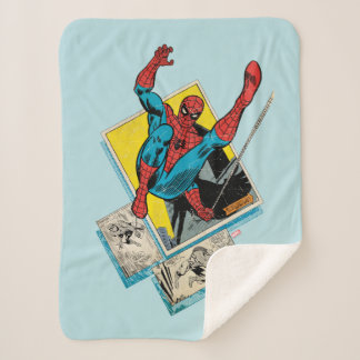 Spider-Man Swinging Out Of Comic Panels Sherpa Blanket