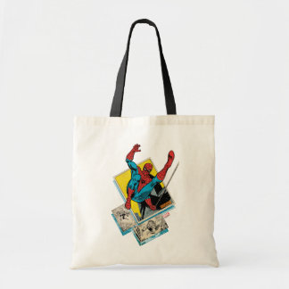 Spider-Man Swinging Out Of Comic Panels Tote Bag