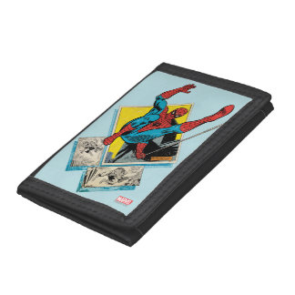 Spider-Man Swinging Out Of Comic Panels Trifold Wallet