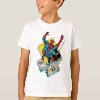 Spider-Man Swinging Out Of Comic Panels Tshirt