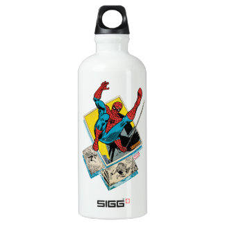 Spider-Man Swinging Out Of Comic Panels Water Bottle