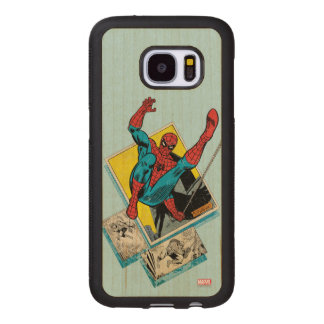 Spider-Man Swinging Out Of Comic Panels Wood Samsung Galaxy S7 Case