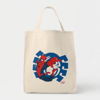 Spider-Man Swinging Over Blue Logo