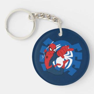Spider-Man Swinging Over Blue Logo Double-Sided Round Acrylic Keychain