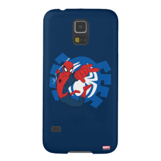 Spider-Man Swinging Over Blue Logo Galaxy S5 Cases