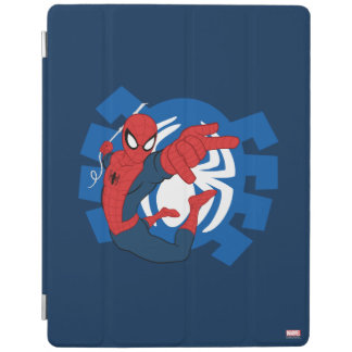 Spider-Man Swinging Over Blue Logo iPad Cover