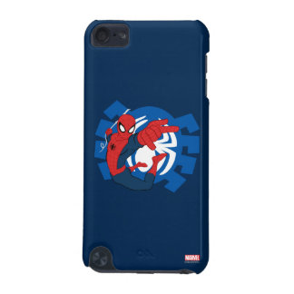 Spider-Man Swinging Over Blue Logo iPod Touch 5G Covers