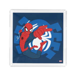 Spider-Man Swinging Over Blue Logo Perfume Tray