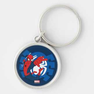 Spider-Man Swinging Over Blue Logo Silver-Colored Round Keychain