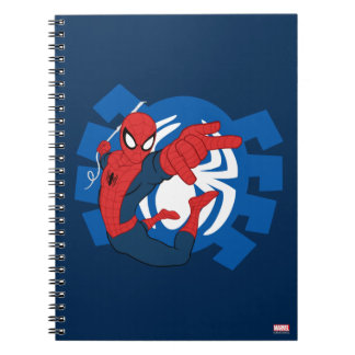 Spider-Man Swinging Over Blue Logo Spiral Notebook