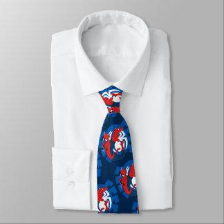 Spider-Man Swinging Over Blue Logo Tie