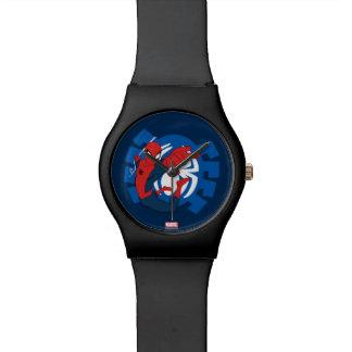 Spider-Man Swinging Over Blue Logo Watches