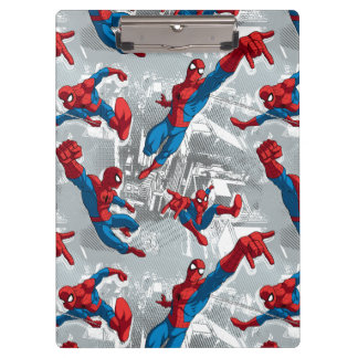 Spider-Man Swinging Over City Pattern Clipboard