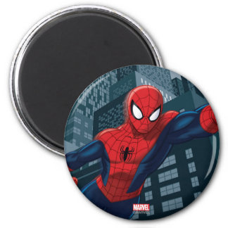 Spider-Man Swinging Through Downtown 2 Inch Round Magnet