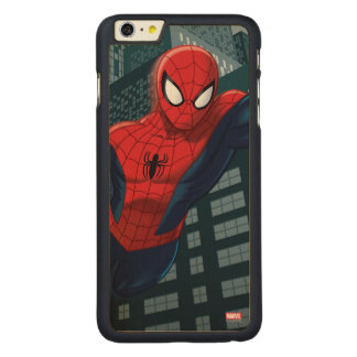 Spider-Man Swinging Through Downtown Carved® Maple iPhone 6 Plus Case
